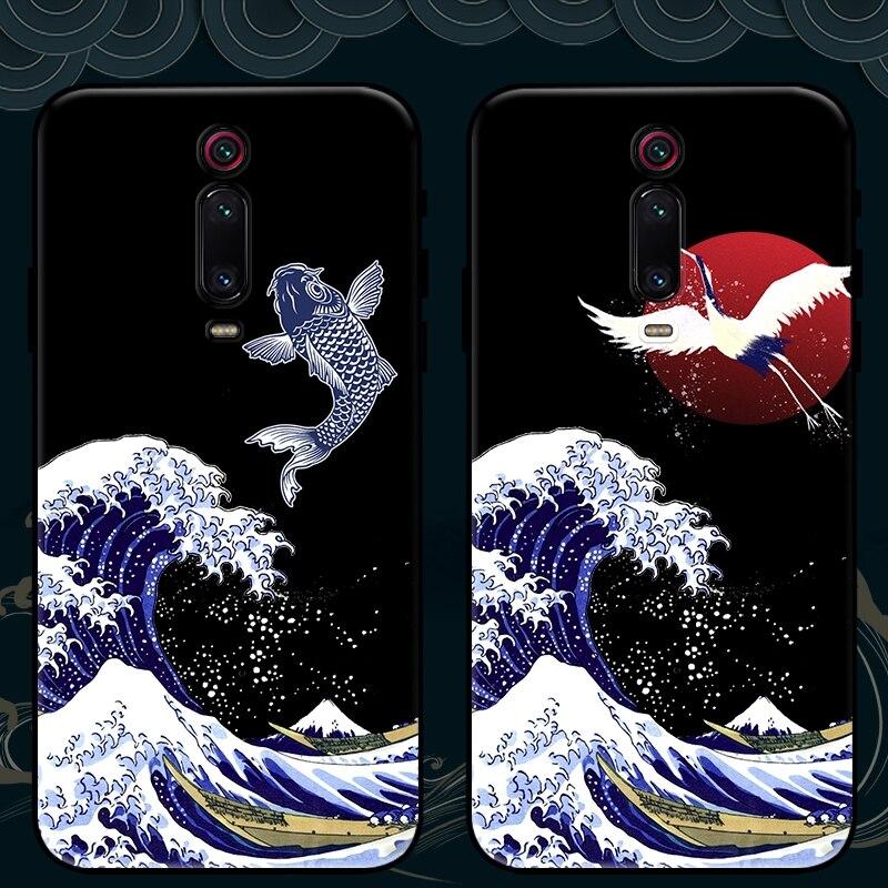 for Xiaomi Mi 9T Pro 9 Lite A3 8 SE Mix 3 2s Redmi K30 Note 9S 10 8 7 Black Shark 2 Case Antiscratch 3D Drawing Carp Soft Cover(China)