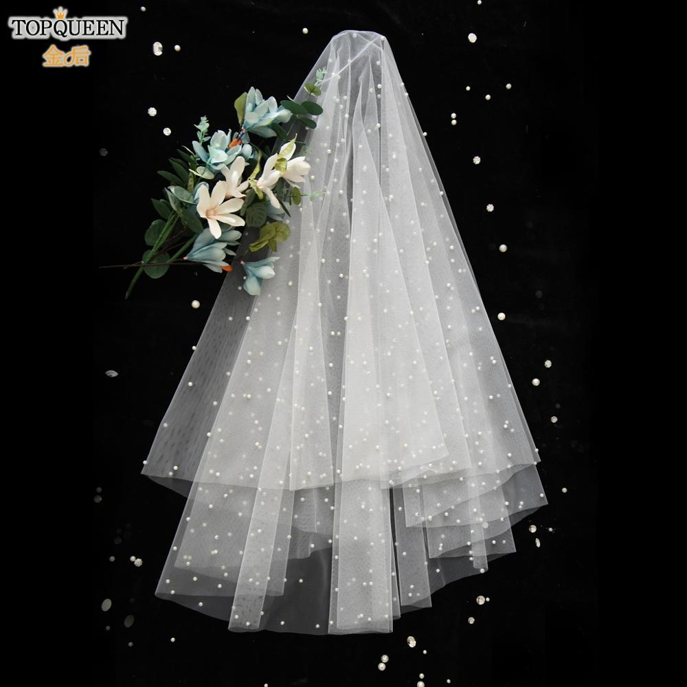 TOPQUEEN V02 Pearl Beaded Wedding Veil 1 Tier Wedding Veil White Ivory Wedding Veil for Girl Wedding Elegant Tulle Blusher Veil
