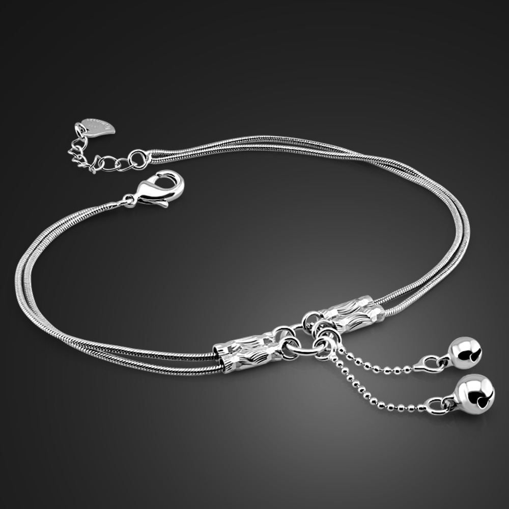 Fashion cute girl bell anklets Women solid 925 sterling silver snake chain anklets.Contracted double chain 27cm anklets. jewelry