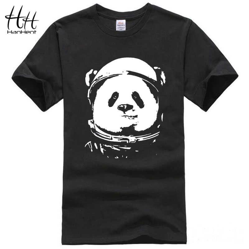 HanHent الفضاء الباندا تي شيرت الرجال 2018 موضة لطيف الحيوان بلايز مضحك تي شيرت طاقم الرقبة الشارع الشهير الأسود المحملة Camisetas Hombre