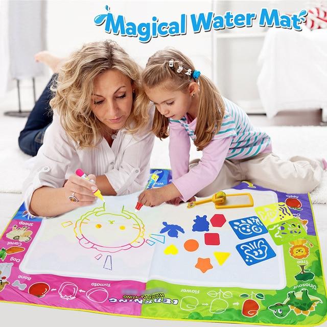גודל גדול 150x100cm קסם מים מחצלת עם 4 Pcs שרבוט עטים חותמת כלים מים ציור ציור מחצלת לילדים צעצועים חינוכיים [