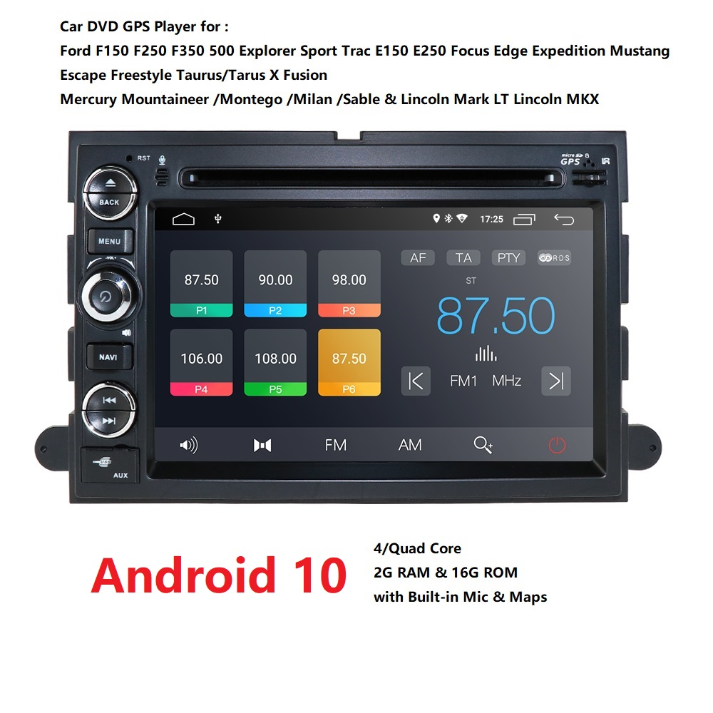 2GB RAM Android 10 Auto DVD Player <font><b>f</b></font>ür Ford F150 F350 F450 F550 F250 Fusion Expedition Mustang Explorer Rand mit BT Wifi 4G DVBT image