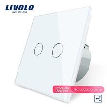 цена на Free Shipping, Livolo EU Standard Touch Switch, 2 Gang 2 Way Control, White Crystal Glass Panel, Wall Light Switch, VL-C702S-11