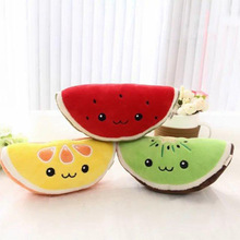 25CM cute emoji kawaii plush stuffed doll kiwi / orange watermelon toy simulation fruit decoration 3D pillow children gift