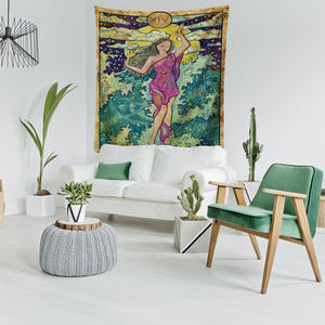 Image 3 - Tarot Card Old Vintage Tapestry Witchcraft Astrology Star Moon Goddess Sea Nymph Mermaid Bed Decoration Blanket Wall Cloth