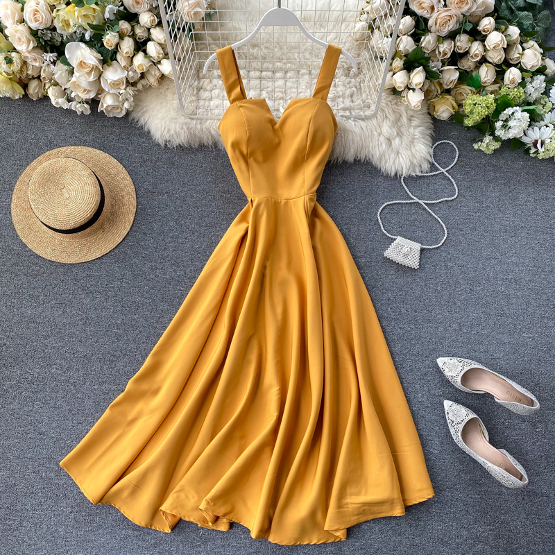 Vintage 2020 Slim V Neck Sexy Summer Spaghetti Strap Dress Lace Up Midi Long Party Dress Women Elegant Beach Holiday Tunic Dress