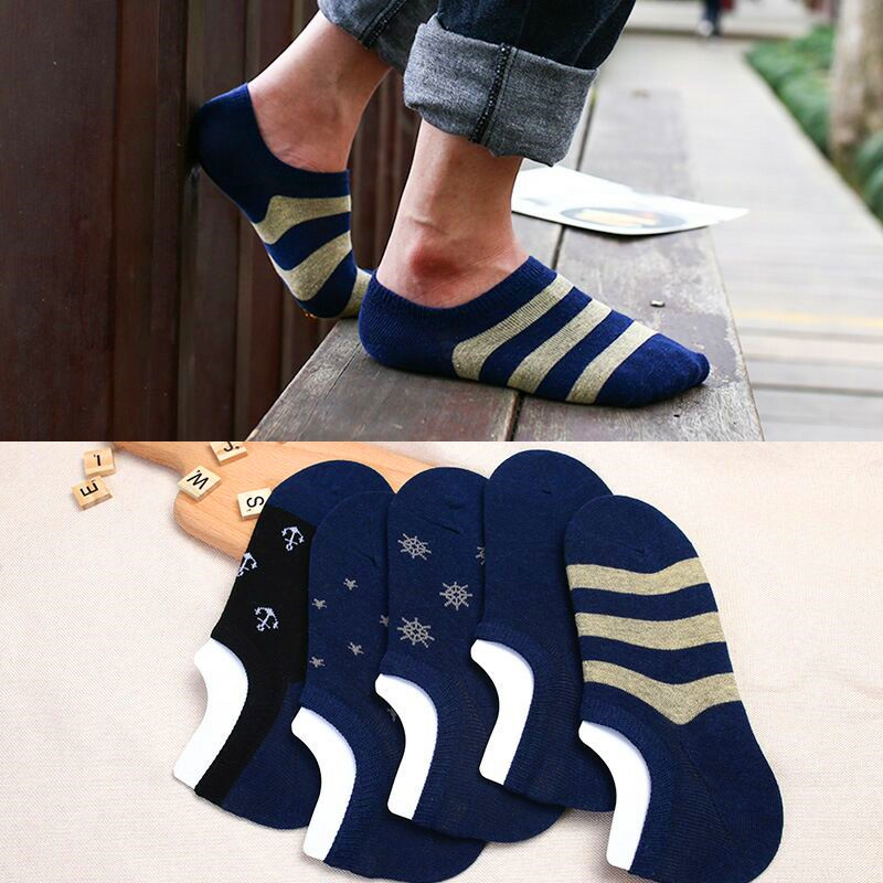 5 Pair Spring Summer Boat Socks Short Cotton Striped Male Ankle Socks Low Cut Shoe Liner Mens Socks Invisible Slippers Non-slip