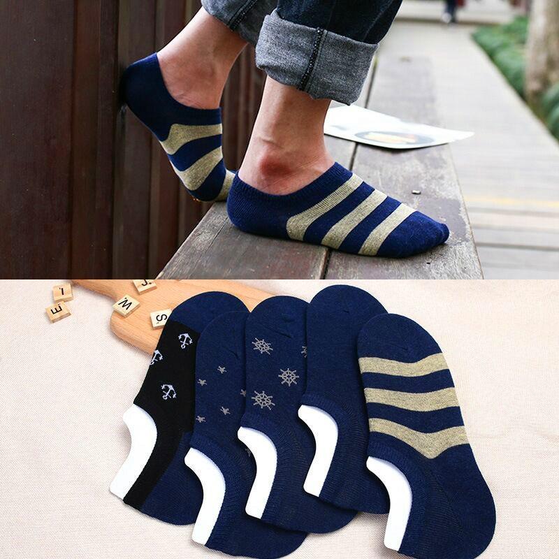 5 Pair Spring Summer Boat Socks Short Cotton Striped Male Ankle Socks Low Cut Shoe Liner Mens Socks Invisible Slippers Non-slip