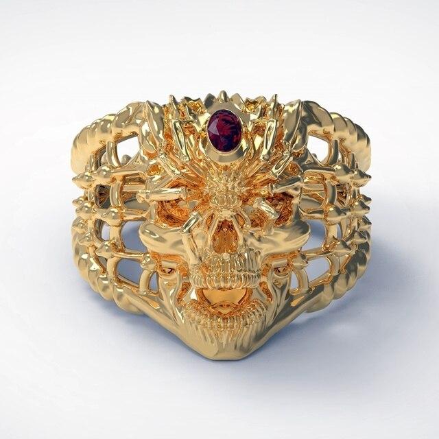 Bague tête de mort Araignée or