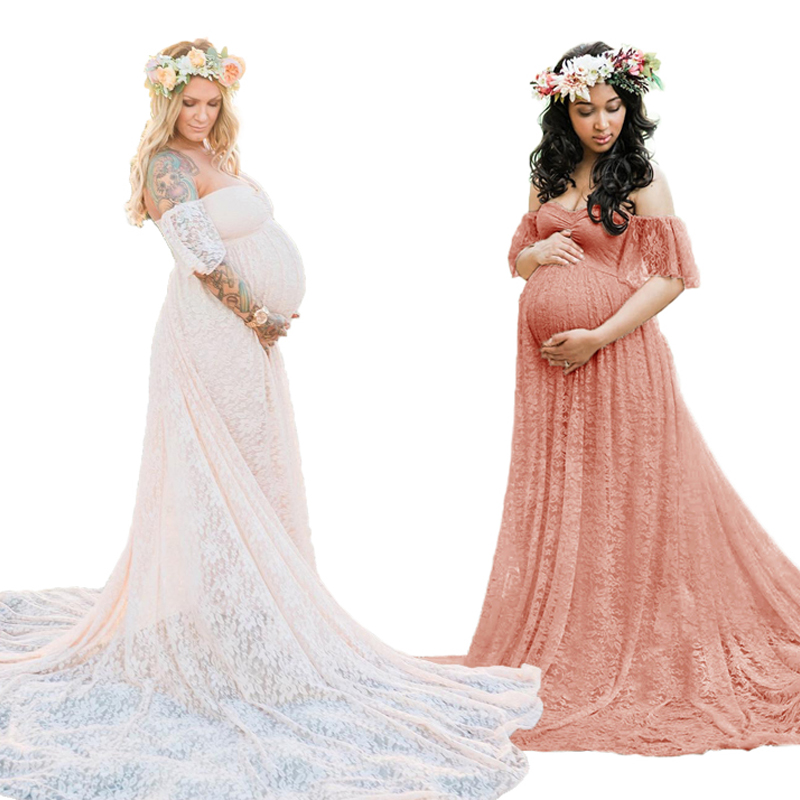 Maternity Photography Props Pregnancy Dress Photography Maternity Dresses For Photo Shoot Pregnant Dress Lace Maxi Gown S - XL