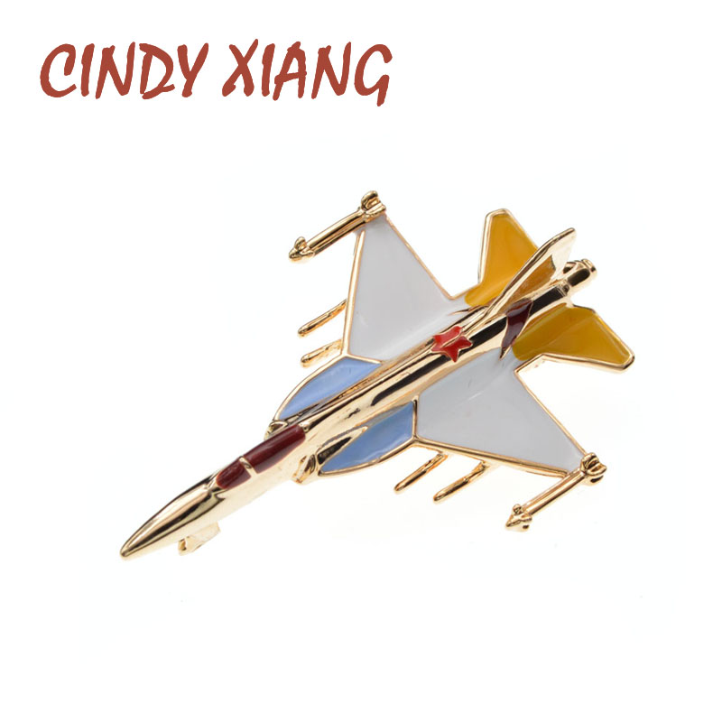 CINDY XIANG Enamel Aircraft Airplane Brooches For Women Coat Pin New Design Fashion Accessories Carton Jewelry High Quality New image