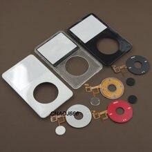 Capa de fáscia para painel frontal, kit de cobertura do painel frontal + botão central de clickroda para ipod 5th vídeo 30gb 60gb 80gb