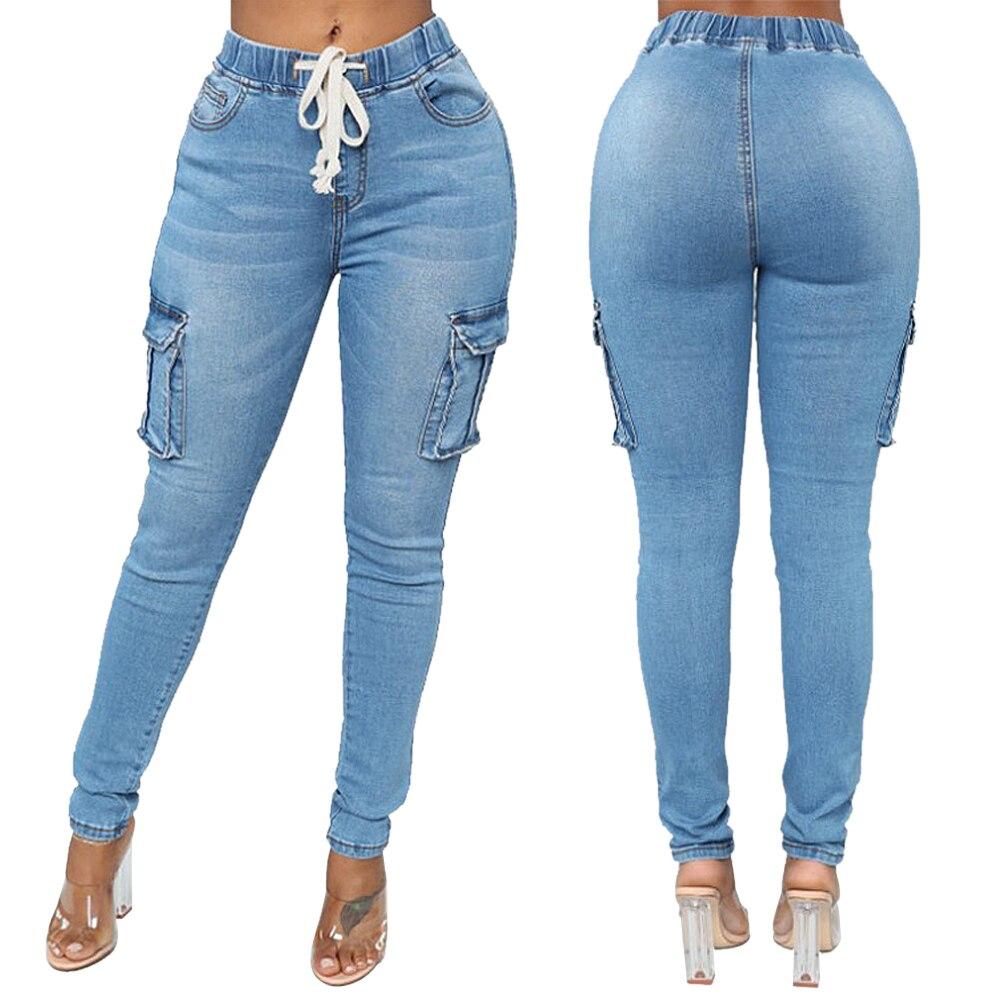 Women Fashion Solid Color Drawstring Jeans Lady Casual Denim Pencil Pants Slim Fit Elastic Side Pockets Jeans 2020 New Plus Size