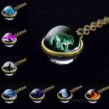 Evil Wolf Glass Ball Necklace Head Pendant Cabochon Vintage Animal Mens Women Cool Jewelry Gift