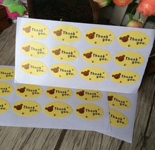 120pcs/pack Thank You Yellow Bottom Elliptical Bear Head Scrapbooking For Package Stationery Seal Stickers