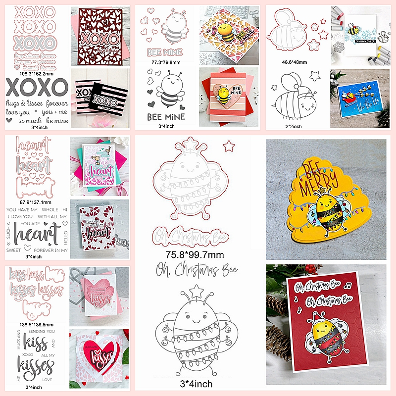Cute Bee Cartoon Heart Kiss Sentence Words Letter Metal Cutting Dies Match Cooperate Silicone Clear Stamps Make Cards Scrapbook