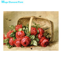 flower basket Moge Diamond Painting Cross Stitch Full Round New DIY 5D home decorative red rose peony Mosaic Embroidery