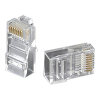 WSFS Hot 1000 Pcs Crystal Head RJ45 Eight Core 8P8C Cable Terminal Transparent Modular Plug Gold Plated Network Connector