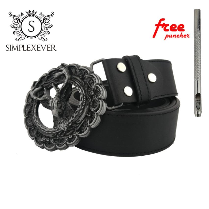 Cool 3D Deer Solid Silver Men Belt Buckle With Deer Design Metal Cowboy Belt Buckle Head With Pu Belt Drop Shipping