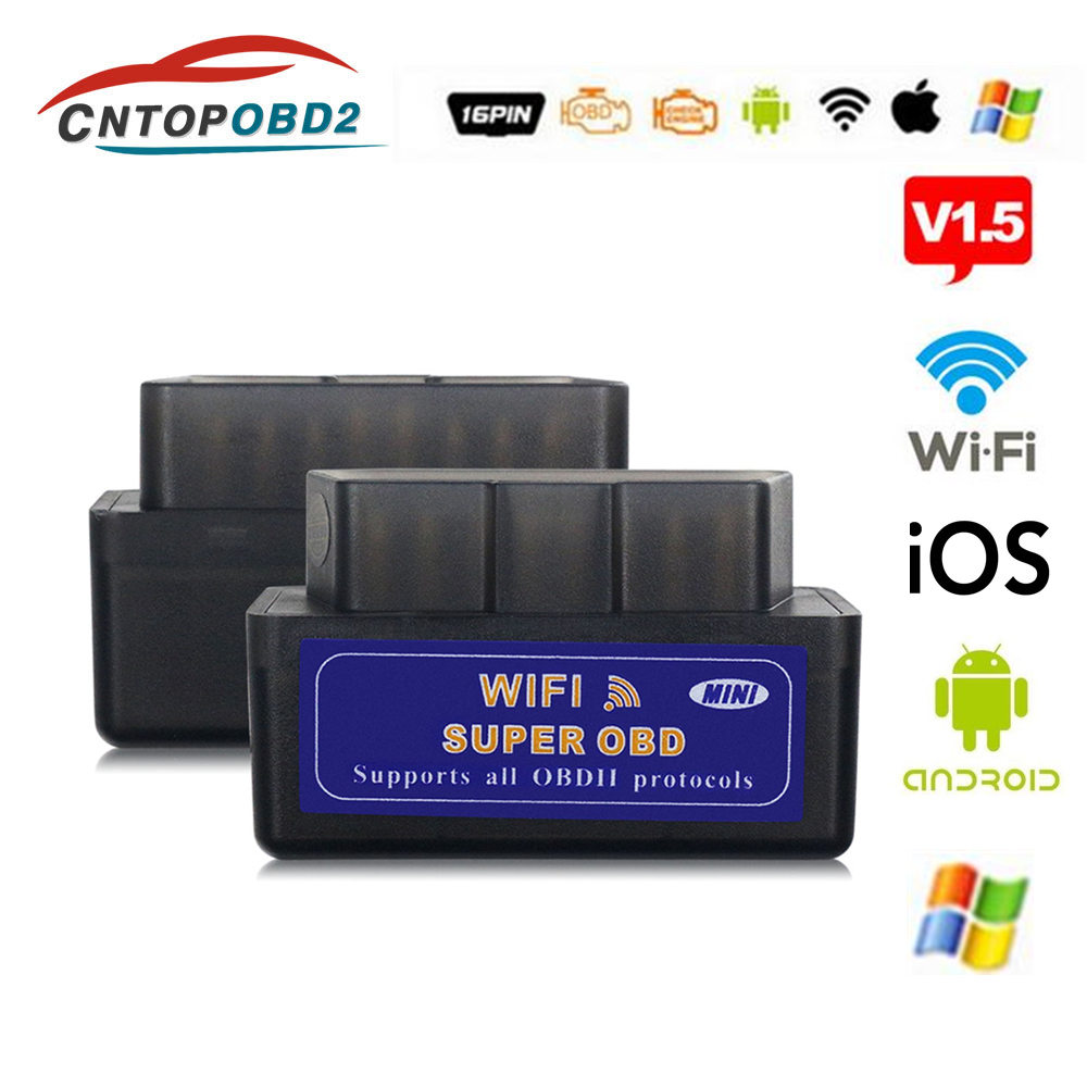 ELM327 WIFI V1.5 Supports Android/iOS/Windows ELM 327 Bluetooth Support Diesel Cars OBD2 Protocols Code Scanner Free Shipping