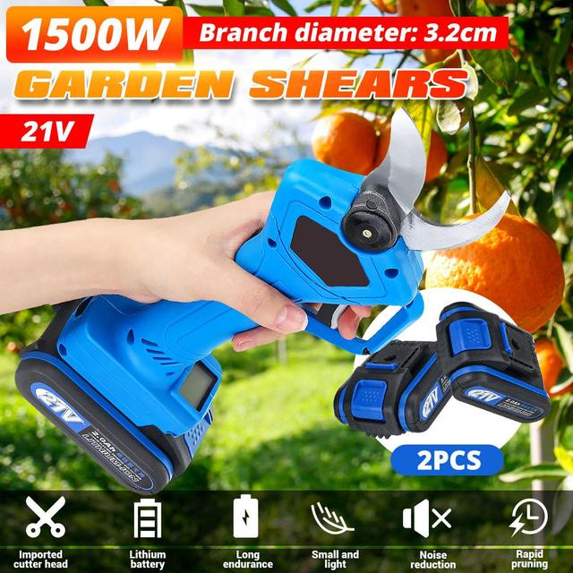 1500W 21V Rechargeable Electric Pruning Scissors Pruning Shears Garden Pruner Secateur Branch Cutter Cutting Tool w/ 2x Battery