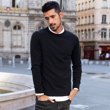 KUEGOU Autumn winter clothing  Solid color Men's sweater stretch Couple pullovers fashion warm sweaters top plus size YYZ-2209 16