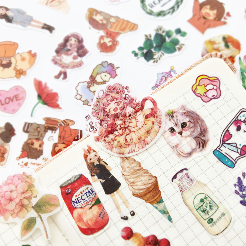 100pcs/Pack Kawaii Unicorn Cat Decorative Stickers Creative Cartoon DIY Stickers Scrapbooking Diary Stationery Album Label