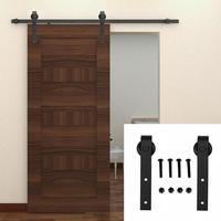 Carbon Steel Sliding Barn Door Hardware Kit Interior Track Rail Pulley Top Mounted Hanger Track Black Steel Closet Roller