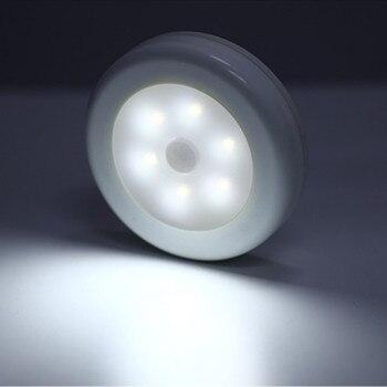 10 pcs 6 LEDs Night Light Infrared PIR Motion Sensor Battery Powered 6 Led Wireless Detector Wall Lamp for Closet Cabinet mini wireless pir motion sensor night light battery powered porch cabinet lamp
