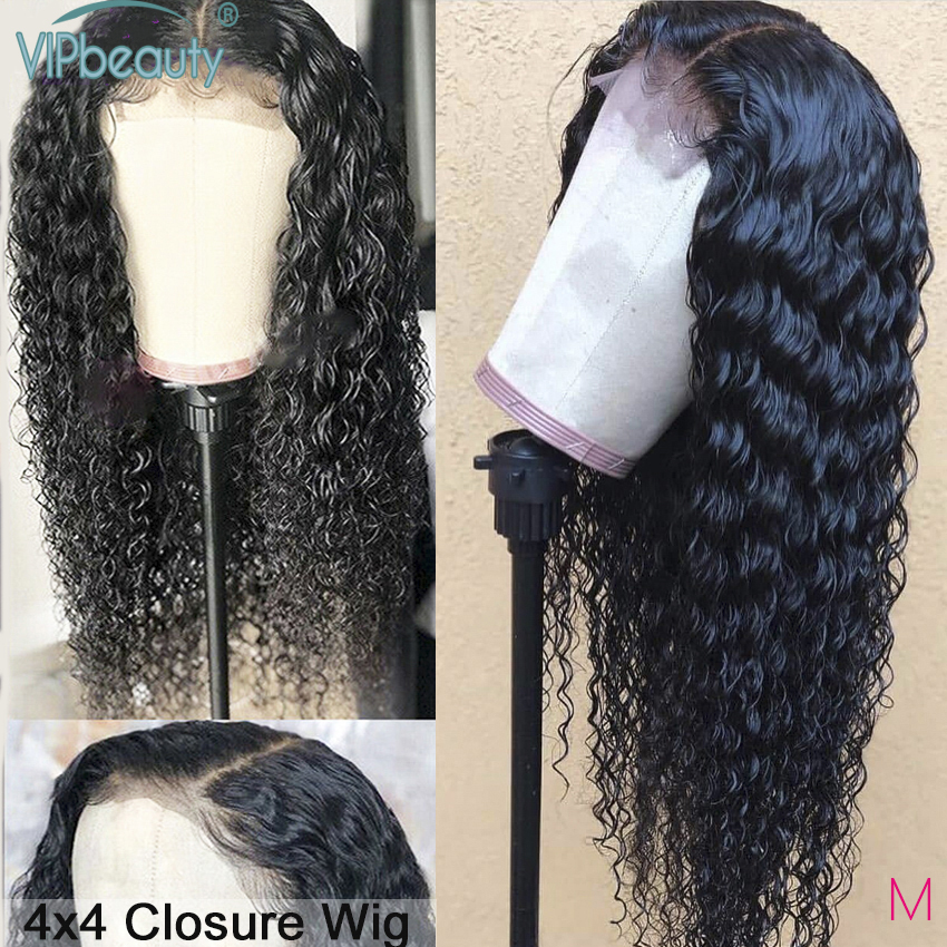 VIPbeauty Closure Wig Curly Human Hair Wig For Women Pre Plucked With Baby Hair Remy 150 Brazilian Wig 4x4 Deep Part Closure Wig