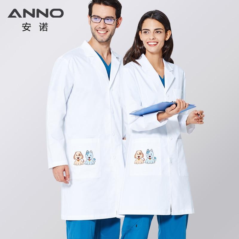 ANNO белая лабораторная куртка, эластичная ткань, униформа доктора, верхняя одежда, медицинская одежда, скрабы, костюм с мультяшным котом