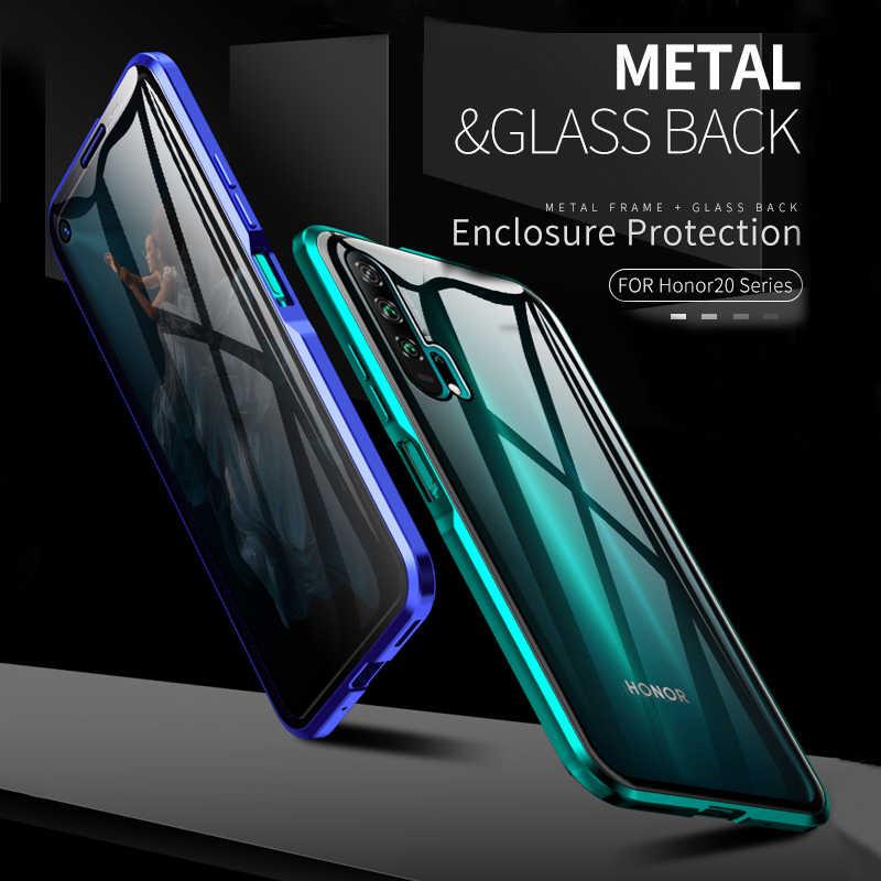 Mewah Penuh Pelindung Tubuh Magnetic Case untuk Huawei P30 P20 Lite Pro 360 Tempered Kaca Back Cover Kehormatan V30 V20 9x 8X Pro Case