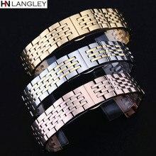 T41 Uhr Band Strap Solide Edelstahl Armband Sieben Perlen Schmetterling Schnalle 12 13 14 15 16 17 18 19 20 21 22 23 24mm Bands