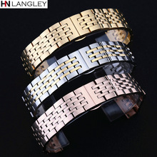 T41 Watch Band Strap Solid Stainless Steel Bracelet Seven Beads Butterfly Buckle 12 13 14 15 16 17 18 19 20 21 22 23 24mm Bands