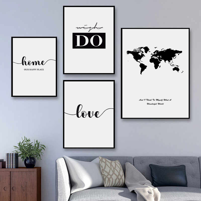 Abstract World Map Wall Art Canvas Painting Poster Modern Black White Life Quotes Art Wall Print Picture Living Room Decor