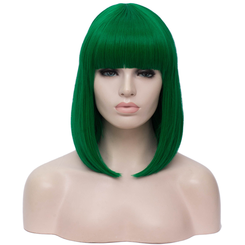 Image 4 - MSIWIGS Synthetic 14 inch Straight Short Bob Wigs Bangs Blue Golden Red Black White Purple Green Brown Cosplay Wig Female-in Synthetic None-Lace  Wigs from Hair Extensions & Wigs