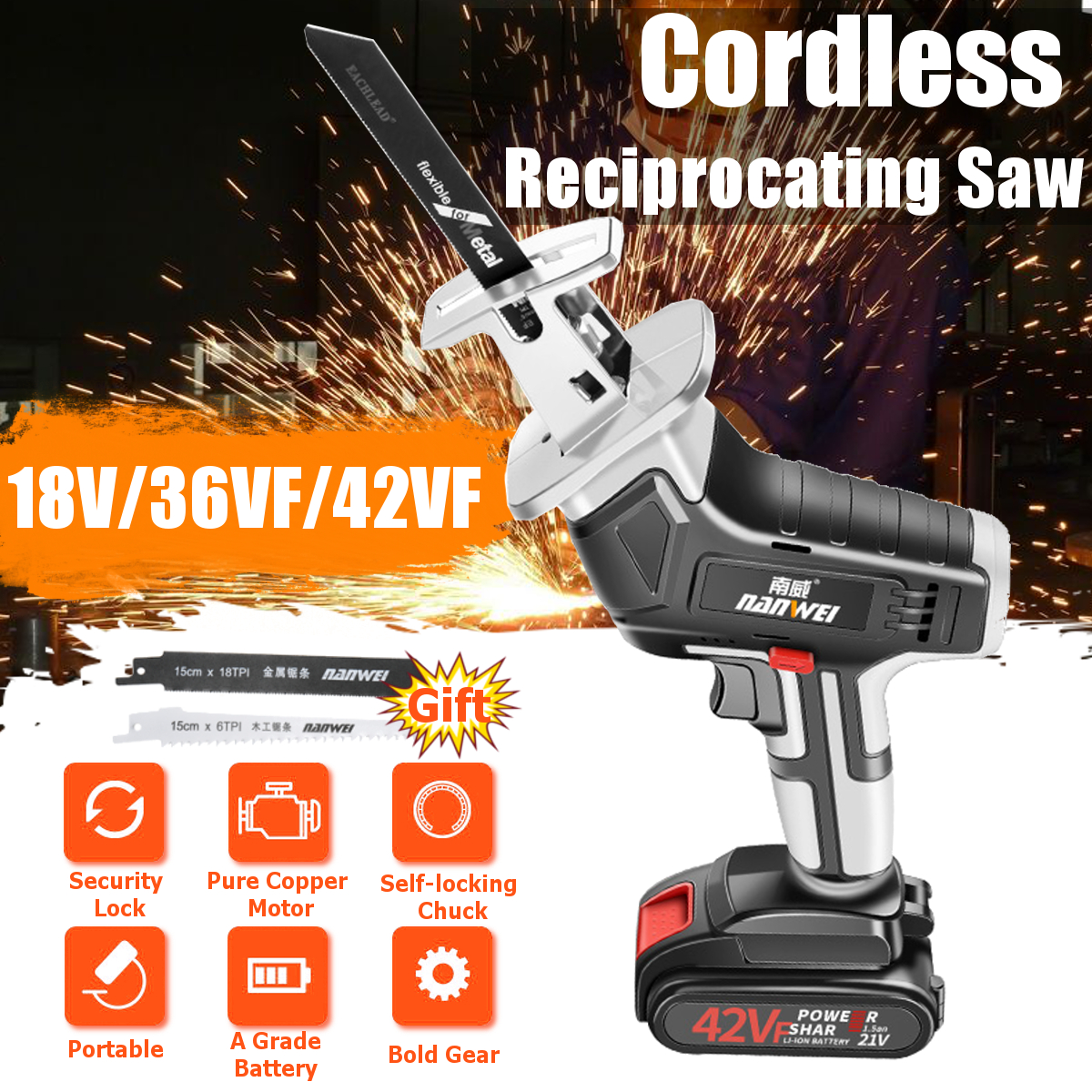 42V Cordless Reciprocating Saw Wood/Metal Cutting Saw Saber Saw Portable Electric Saw Rechargeable Power Tool + 2 Lithium Batter