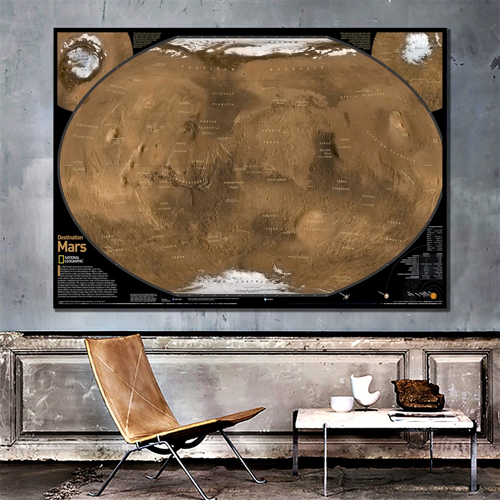 A2 Size Fine Canvas Mars Ground Map Satellite Shot With Geographic Equivalents For School Office Wall Decor
