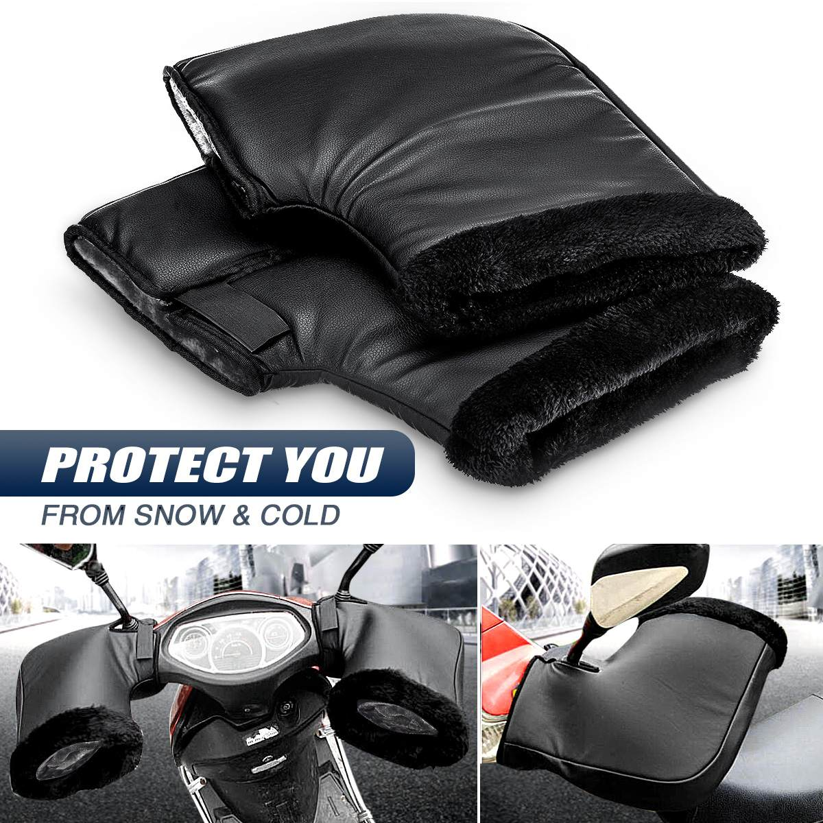 Motorcycle Handlebar Windproof PU Winter Thick Warm Handlebar Muffs Thermal Cover Gloves Universal for Motorcycles, Scooters