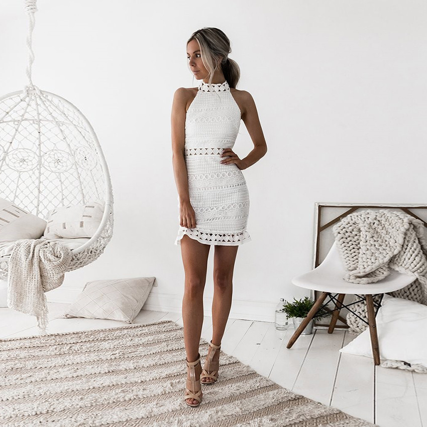 2020 Summer Womens Mini <font><b>Dress</b></font> White <font><b>Elegant</b></font> <font><b>Wedding</b></font> <font><b>Party</b></font> <font><b>Sexy</b></font> <font><b>Night</b></font> <font><b>Club</b></font> <font><b>Halter</b></font> Neck Sleeveless Sheath Bodycon Lace <font><b>Dress</b></font> image