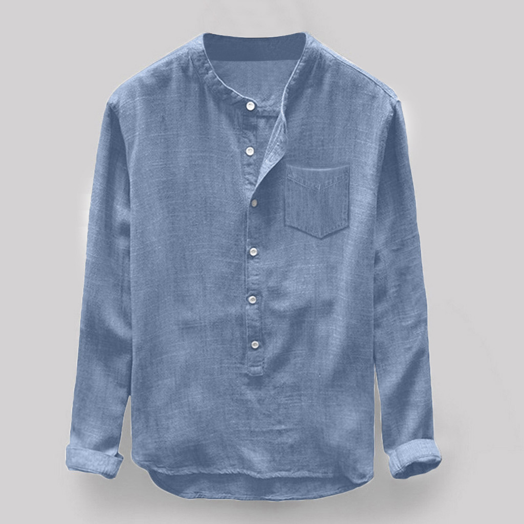 Camisa Blouse Button Linen Long-Sleeve Mens Casual Fashion Summer And Top Para Hombre title=