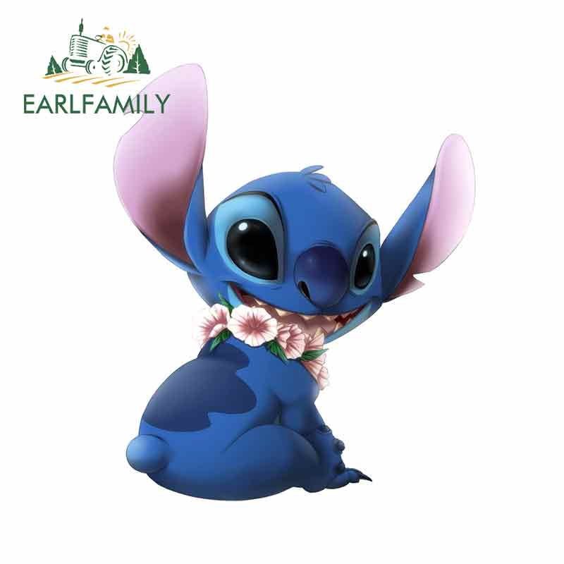 EARLFAMILY 13cm X 10.8cm For Lilo Stitch Car Truck Decal Motorcycle Car Stickers Personality Creative Sticker Fashion Decoration