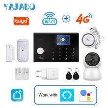 цена на YAJADO Tuya WiFi 4G 3G GSM Alarm System Home Security Burglar Alarm with 433MHz Wireless Detectors&IP Camera APP Remote Control