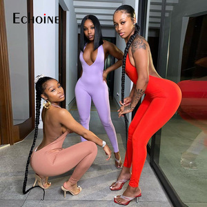 Echoine sexy halter women activewear v-neck bandage sleeveless jumpsuit skinny rompers bodycon fitness casual Tracksuit outfit
