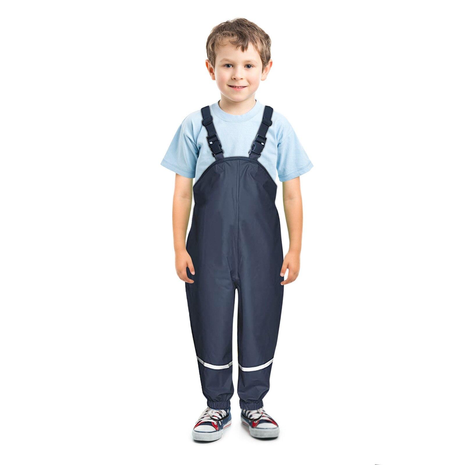 Unisex Children's Rain Dungarees Windproof and Waterproof Mud Trousers