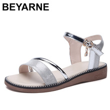 BEYARNE New Women Summer Sandals Gold Silver Flat Sandals El