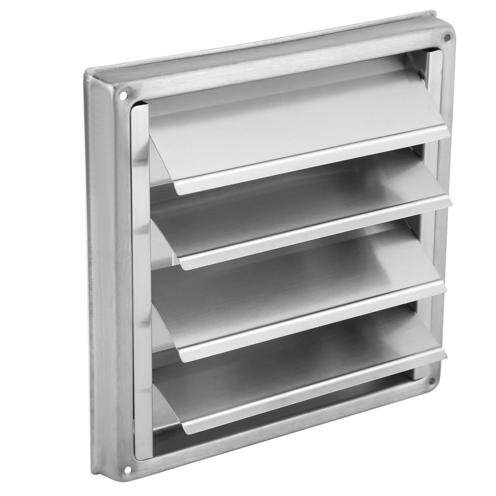 <font><b>100mm</b></font> Air Vent <font><b>Duct</b></font> Grill Stainless Steel Wall Air Vent Square Tumble Dryer Extractor <font><b>Fan</b></font> Outlet Bathroom Vents Silver image