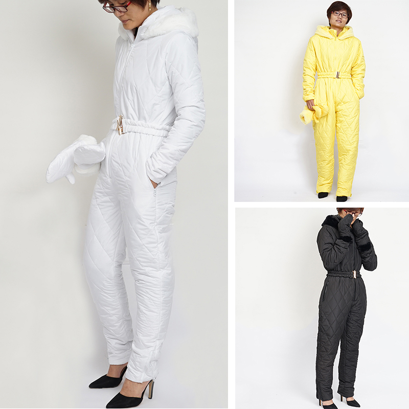 Women's Thick Jumpsuit Winter Fashion Casual Warm Breathable Hoodie Fur Collar Solid Color Female Snow Onesies Suits