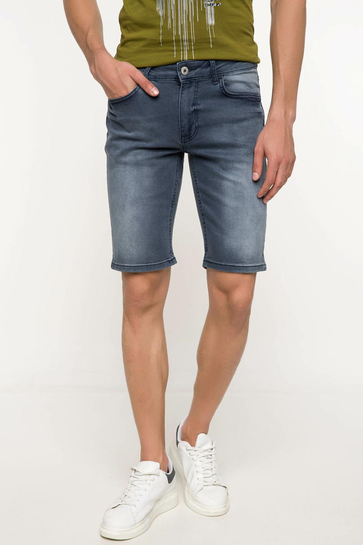 DeFacto Man Summer Short Blue Denim Shorts Men Casual Washed Short Jeans Male Mid-waist Straight Bermuda Shorts-I8800AZ18SM