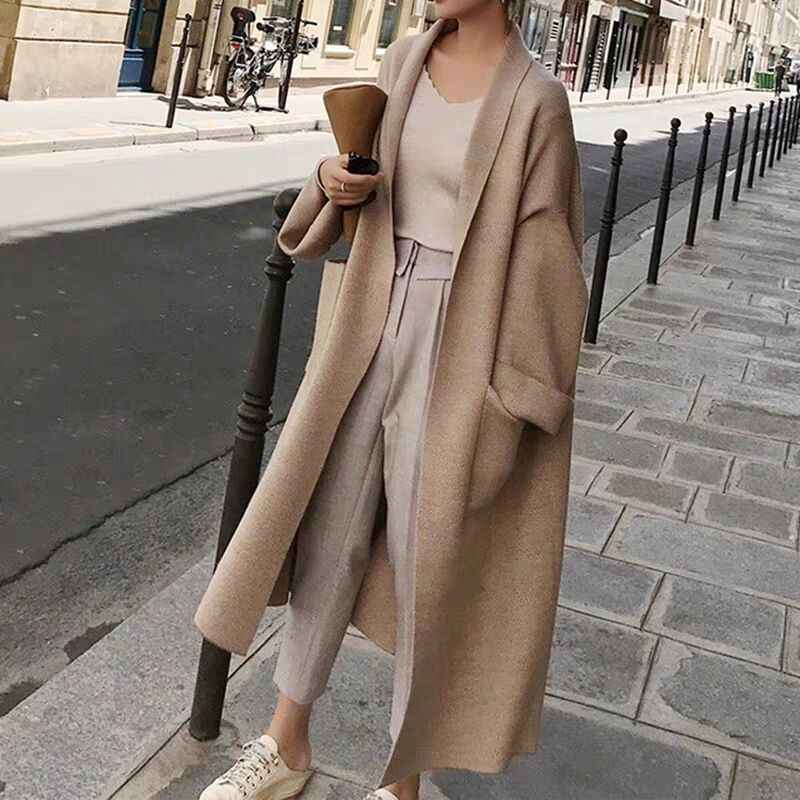 Casual women's cardigan with pockets autumn and winter long sweater women's knit striped cardigan open needle sweater coat 2019